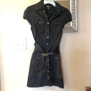 Black sporty Bebe button up black dress XS